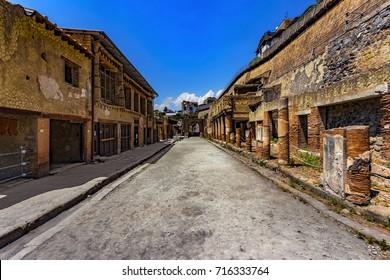 Italy. Ruins of Herculaneum (UNESCO World Heritage Site) - Decumanus Maximus