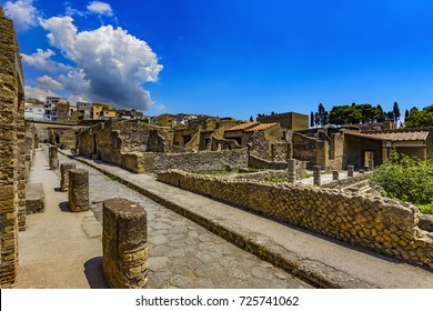 Italy. Ruins of Herculaneum (UNESCO World Heritage Site) - Cardo III Inferiore (lower Cardo street) and remains of ancient houses (Insula III)