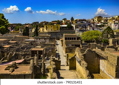 Italy. Ruins of Herculaneum (UNESCO World Heritage Site) - general view. Ancient Decumanus Inferior (lower Decumanus street)