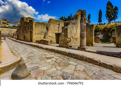 Italy. Ruins of Herculaneum (UNESCO World Heritage Site) - Cardo V Superior (upper Cardo street) and entrance to the Palestra