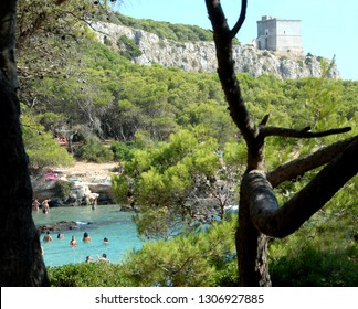 Italy / Salento – August 2, 2018: bay in the Mediterranean forest of the Regional Natural Park of Porto Selvaggio in Salento in Puglia.
