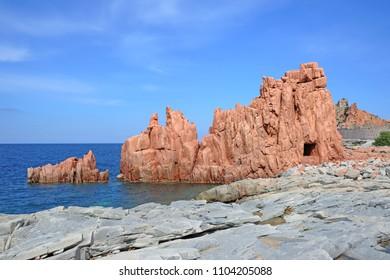 Italy - sardinia ( Sardegna ) Arbatax - red cliff on the sea