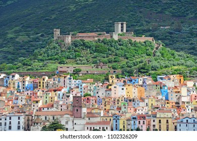 Italy - Sardinia ( Sardegna ) , Bosa village - colored houses