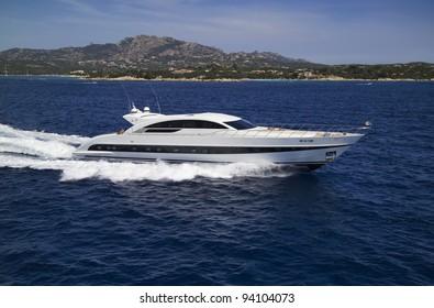 Italy, Sardinia, Tyrrhenian Sea, Tecnomar Velvet 35 Open luxury yacht, aerial view