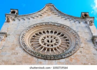 Italy, SE Italy, Brindisi, region of Apulia, Ostuni.  Duomo di Ostuni; Basilica concattedrale di Santa Maria Assunta.  Exterior.