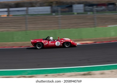 Italy, september 11 2021. Vallelunga classic. Historic race Lola T70 MK2 prototype car action on racetrack