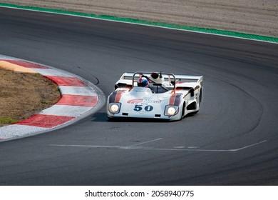Italy, september 11 2021. Vallelunga classic. 70s endurance prototype race car classic historic competition on asphalt racetrack, Lola T286