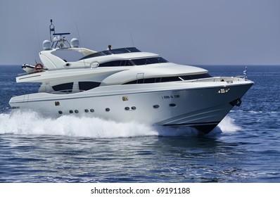Italy, S.Felice Circeo (Rome), luxury yacht Rizzardi Posillipo Technema 95'