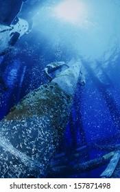 Italy, Sicily Channel, offshore oil platform VEGA,