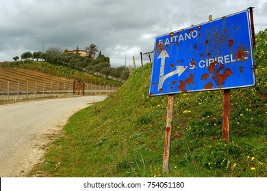 italy- sicily- corleone - road signs hit by mafia gunshots