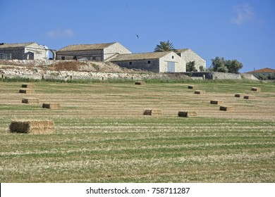 Italy, Sicily, countryside, harvested hay field
