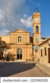 Italy, Sicily, Donnalucata (Ragusa Province), view of the baroque church facade