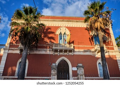 Italy, Sicily, Donnalucata (Ragusa Province); view of the baroque town hall building facade