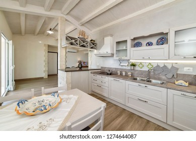 Italy, Sicily, Donnalucata (Ragusa Province); 10 August 2018, apartment kitchen