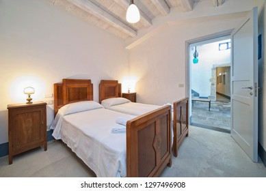Italy, Sicily, Donnalucata (Ragusa Province); 20 April 2018, apartment bedroom - EDITORIAL