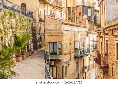 Italy, Sicily, Enna Province, Centuripe.  Rustic buildings in the hill town of Centuripe.