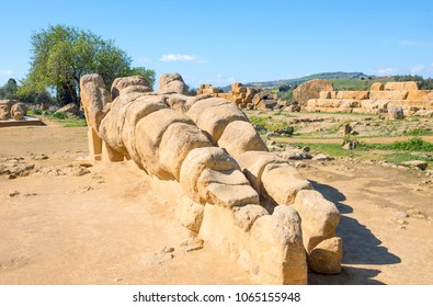 Italy, Sicily island, the valley of the temples of Agrigento, a Telamon, ruin of the giant statue of the temple of Zeus Olympios