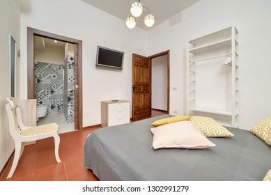 Italy, Sicily, Kaukana (Ragusa Province); 5 June 2018, house bedroom - EDITORIAL