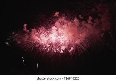 Italy, Sicily, Marina di Ragusa, fireworks at night