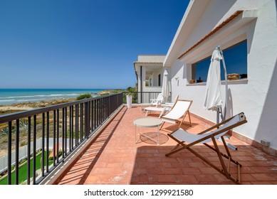 Italy, Sicily, Mediterranean Sea, Kaukana beach (Ragusa Province); 5 June 2018, elegant private house on the beach - EDITORIAL