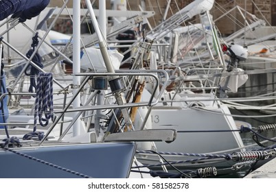 Italy, Sicily, Mediterranean sea ; luxury yachts in the port