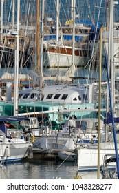 Italy, Sicily, Mediterranean sea, Marina di Ragusa; 11 March 2018, luxury yachts in the port - EDITORIAL