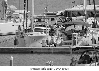 Italy, Sicily, Mediterranean sea, Marina di Ragusa; 23 July 2018, sailing boats in the port - EDITORIAL