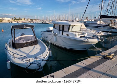 Italy, Sicily, Mediterranean sea, Marina di Ragusa; 20 December 2018, motor boats and luxury yachts in the port - EDITORIAL