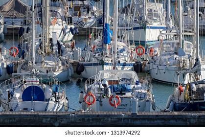 Italy, Sicily, Mediterranean sea, Marina di Ragusa; 15 February 2019, sailing boats in the port - EDITORIAL