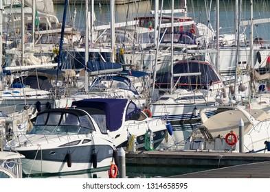 Italy, Sicily, Mediterranean sea, Marina di Ragusa; 16 February 2019, luxury yachts in the port - EDITORIAL