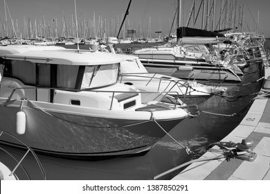 Italy, Sicily, Mediterranean sea, Marina di Ragusa; 28 April 2019, motor boats and luxury yachts in the port - EDITORIAL