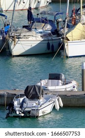 Italy, Sicily, Mediterranean sea, Marina di Ragusa (Ragusa Province); 7 March 2020, motor boats and luxury yachts in the port - EDITORIAL