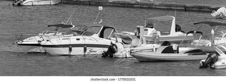 Italy, Sicily, Mediterranean sea, Marina di Ragusa (Ragusa Province); 5 July 2020, motor boats and luxury yachts in the port - EDITORIAL