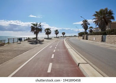 Italie, Sicile, Mer Méditerranée, Marina di Ragusa (province de Ragusa), piste cyclable en bord de mer avec palmiers