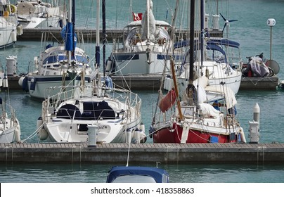 Italy, Sicily, Mediterranean sea, Marina di Ragusa; 10 May 2016, boats and luxury yachts in the port - EDITORIAL
