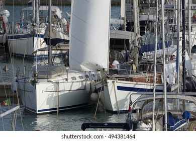 Italy, Sicily, Mediterranean sea, Marina di Ragusa; 6 October 2016, luxury yachts in the port - EDITORIAL
