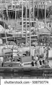 Italy, Sicily, Mediterranean sea, Marina di Ragusa; 2 November 2016, luxury yachts in the port - EDITORIAL