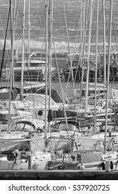 Italy, Sicily, Mediterranean sea, Marina di Ragusa; 17 December 2016, luxury yachts in the port - EDITORIAL
