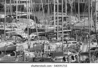 Italy, Sicily, Mediterranean sea, Marina di Ragusa; 21 December 2016, luxury yachts in the port - EDITORIAL