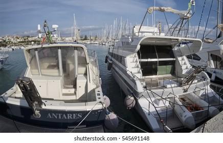 Italy, Sicily, Mediterranean sea, Marina di Ragusa; 22 December 2016, luxury yachts in the port - EDITORIAL