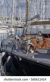 Italy, Sicily, Mediterranean sea, Marina di Ragusa; 19 january 2017, luxury yachts in the port - EDITORIAL