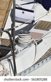Italy, Sicily, Mediterranean sea, Marina di Ragusa; 19 January 2017, winch and nautical ropes on a sailing boat - EDITORIAL