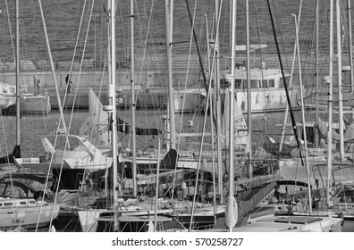 Italy, Sicily, Mediterranean sea, Marina di Ragusa; 2 February 2017, boats and luxury yachts in the port at sunset - EDITORIAL