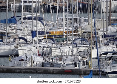 Italy, Sicily, Mediterranean sea, Marina di Ragusa; 4 February 2017, luxury yachts in the port - EDITORIAL