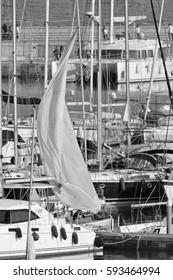 Italy, Sicily, Mediterranean sea, Marina di Ragusa; 5 March 2017, luxury yachts in the port - EDITORIAL