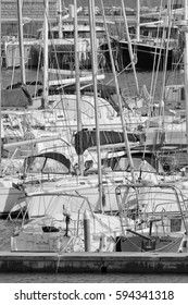Italy, Sicily, Mediterranean sea, Marina di Ragusa; 6 March 2017, luxury yachts in the port - EDITORIAL