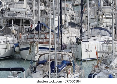 Italy, Sicily, Mediterranean sea, Marina di Ragusa; 10 March 2017, boats and luxury yachts in the port - EDITORIAL