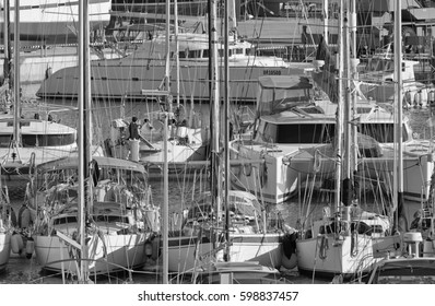 Italy, Sicily, Mediterranean sea, Marina di Ragusa; 12 March 2017, boats and luxury yachts in the port - EDITORIAL