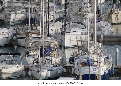 Italy, Sicily, Mediterranean sea, Marina di Ragusa; 14 March 2017, boats and luxury yachts in the port - EDITORIAL