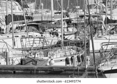 Italy, Sicily, Mediterranean sea, Marina di Ragusa; 2 April 2017, luxury yachts in the port - EDITORIAL
